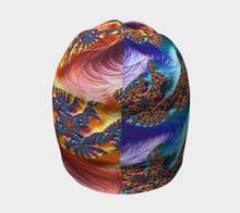 "Load image into Gallery viewer, Fractal CAPS Beanie in ""FAB Alchemy Yin Yang"" Yellow w/ Bamboo Rayon Liner"