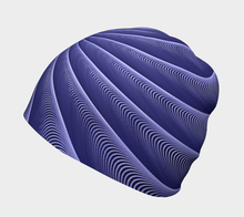Load image into Gallery viewer, #fractalcaps Spiral Periwinkle Peace Beanie Eco-Poly/Spandex w/ Bamboo Rayon