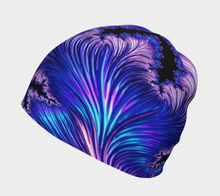 "Load image into Gallery viewer, FAB Beauty Blue ""Fractal CAPS"" Beanie w/ Bamboo Rayon Liner"