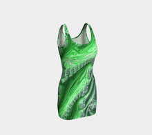 Load image into Gallery viewer, #fractalfads Lime Sherbert Hand Sewn EcoPoly Spandex Dress