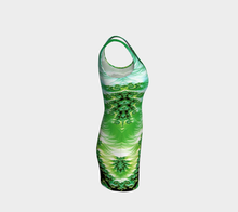 Load image into Gallery viewer, #fractalfads Lime Satin Hand Sewn EcoPoly Spandex Dress
