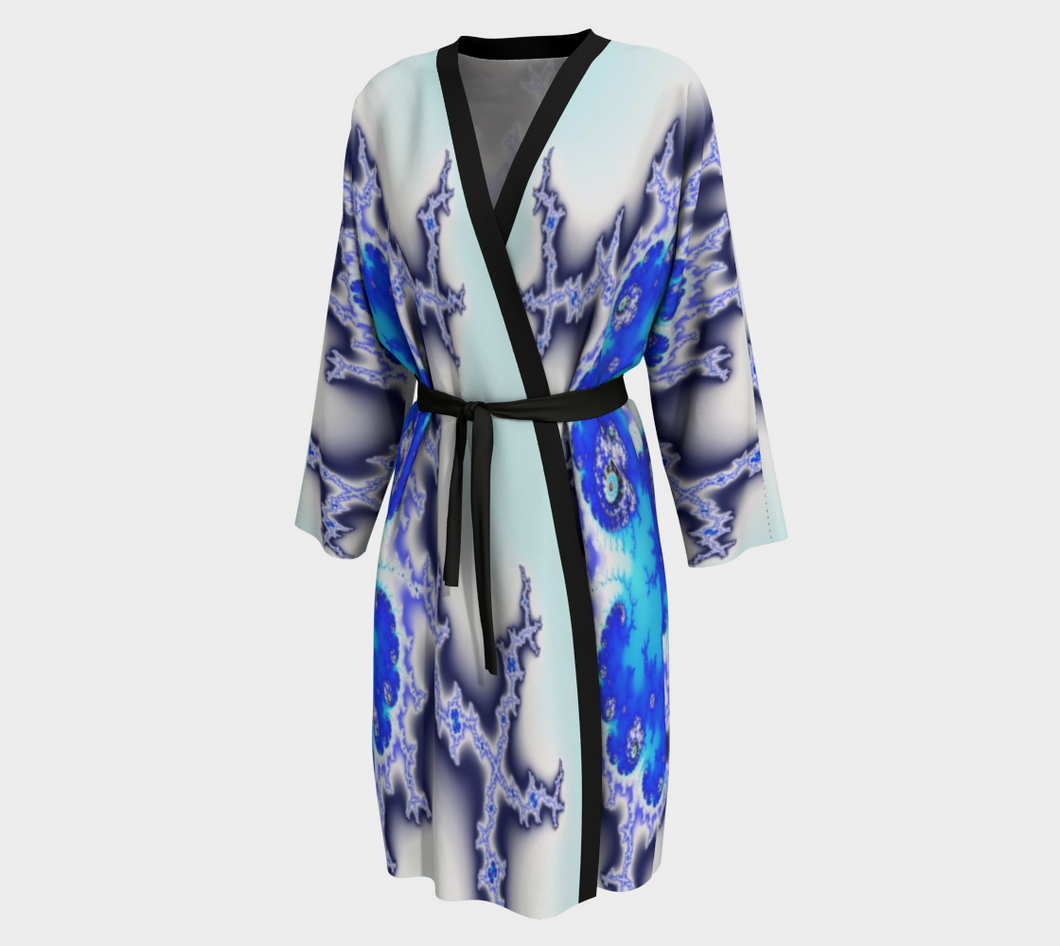 Fractal WRAPS Three Blues Peignoir Robe