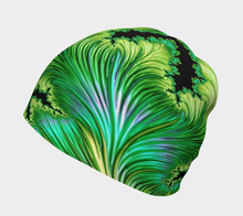 "Load image into Gallery viewer, FAB Beauty Lime Green ""Fractal CAPS"" Beanie w/ Bamboo Rayon Liner"