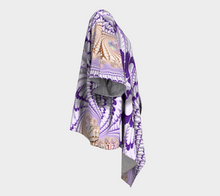 Load image into Gallery viewer, #fractalwraps Purple Tip Feather Custom Draped Kimono