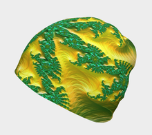 "Load image into Gallery viewer, FAB Alchemy Green ""Fractal CAPS"" Beanie w/ Bamboo Rayon Liner"