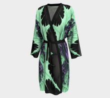 Load image into Gallery viewer, #fractalwraps Ice Green Queen 2 Peignoir Custom Kimono Robe