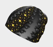 Load image into Gallery viewer, #fractalcaps Silver Nights Beanie Eco-Poly/Spandex w/ Bamboo Rayon