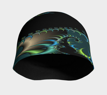 Load image into Gallery viewer, #fractalcaps Surge Black/Green/Blue Beanie Eco-Poly/Spandex w/ Bamboo Rayon