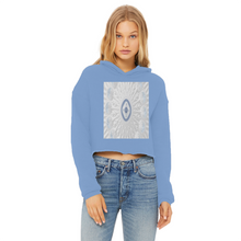 Load image into Gallery viewer, Blue White Cloud 69th Power Cropped Raw Edge Hoodie Blk/Grn