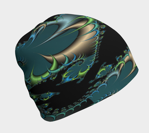 #fractalcaps Surge Black/Green/Blue Beanie Eco-Poly/Spandex w/ Bamboo Rayon