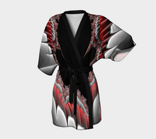 Load image into Gallery viewer, #fractalwraps Red Silver Scene Custom Kimono Robe