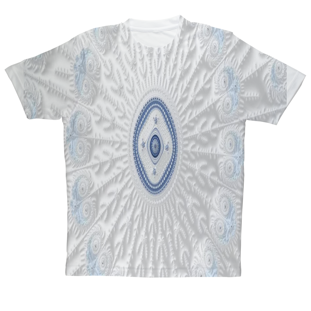 Blue White Cloud 69th Power #fractalfashion Adult T-Shirt