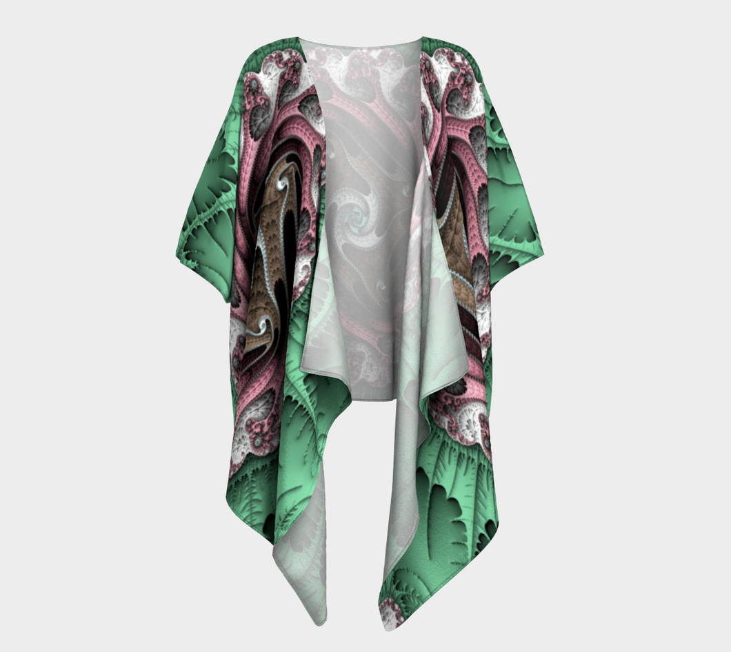 Fractal WRAPS Unique Green Custom Draped Kimono