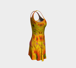 #fractalfads Sunflower Yellow Flare Dress