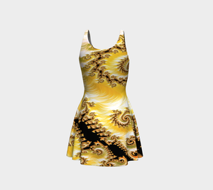 #fractalfads Yellow Satin Flare Dress