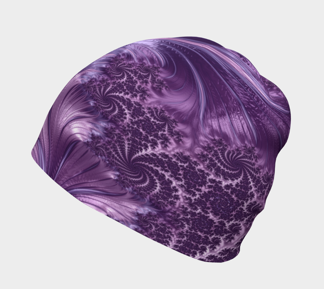 #fractalcaps FAB Vibe Purple Beanie Eco-Poly/Spandex w/ Bamboo Rayon