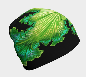 "FAB Beauty Lime Green ""Fractal CAPS"" Beanie w/ Bamboo Rayon Liner"