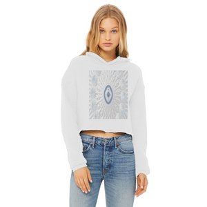 Blue White Cloud 69th Power Cropped Raw Edge Hoodie Blk/Grn
