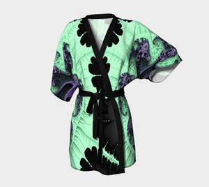Fractal Wraps Ice Green Queen (Youth, Adult) Custom Kimono Robe
