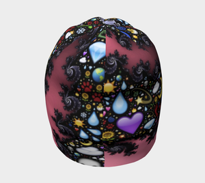 #fractalcaps Black & Pink Global Beanie Eco-Poly/Spandex w/ Bamboo Rayon