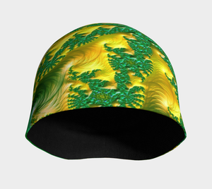"FAB Alchemy Green ""Fractal CAPS"" Beanie w/ Bamboo Rayon Liner"