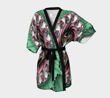 Load image into Gallery viewer, #fractalwraps Rose Green Queen Custom Kimono Robe