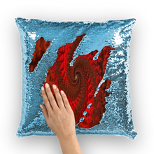 Load image into Gallery viewer, Red Roads #fractalhouse Sequin Cushion Cover