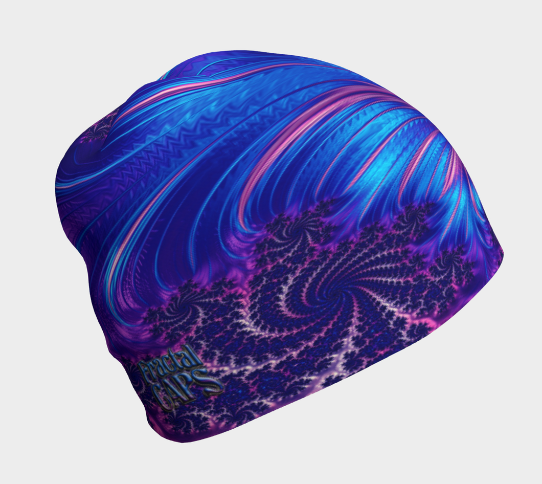 #fractalcaps Vibe Blue Beanie Eco-Poly/Spandex w/ Bamboo Rayon