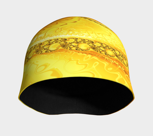 #fractalcaps Wave Yellow Beanie Eco-Poly/Spandex w/ Bamboo Rayon