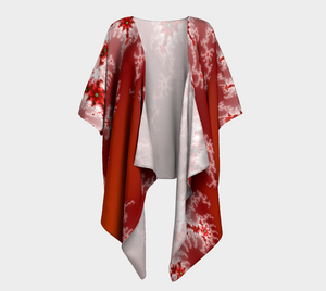 #fractalwraps Red Ice White 2 Custom Draped Kimono