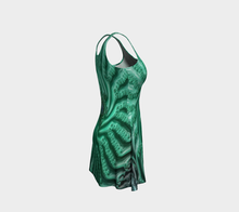 Load image into Gallery viewer, #fractalfads Aqua Spiral Flare Dress
