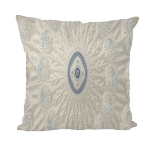 #fractalhouse Blue White Cloud Throw Pillows