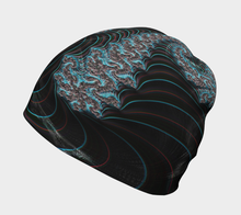 Load image into Gallery viewer, #fractalcaps Aqua Black Cane Beanie Eco-Poly/Spandex w/ Bamboo Rayon