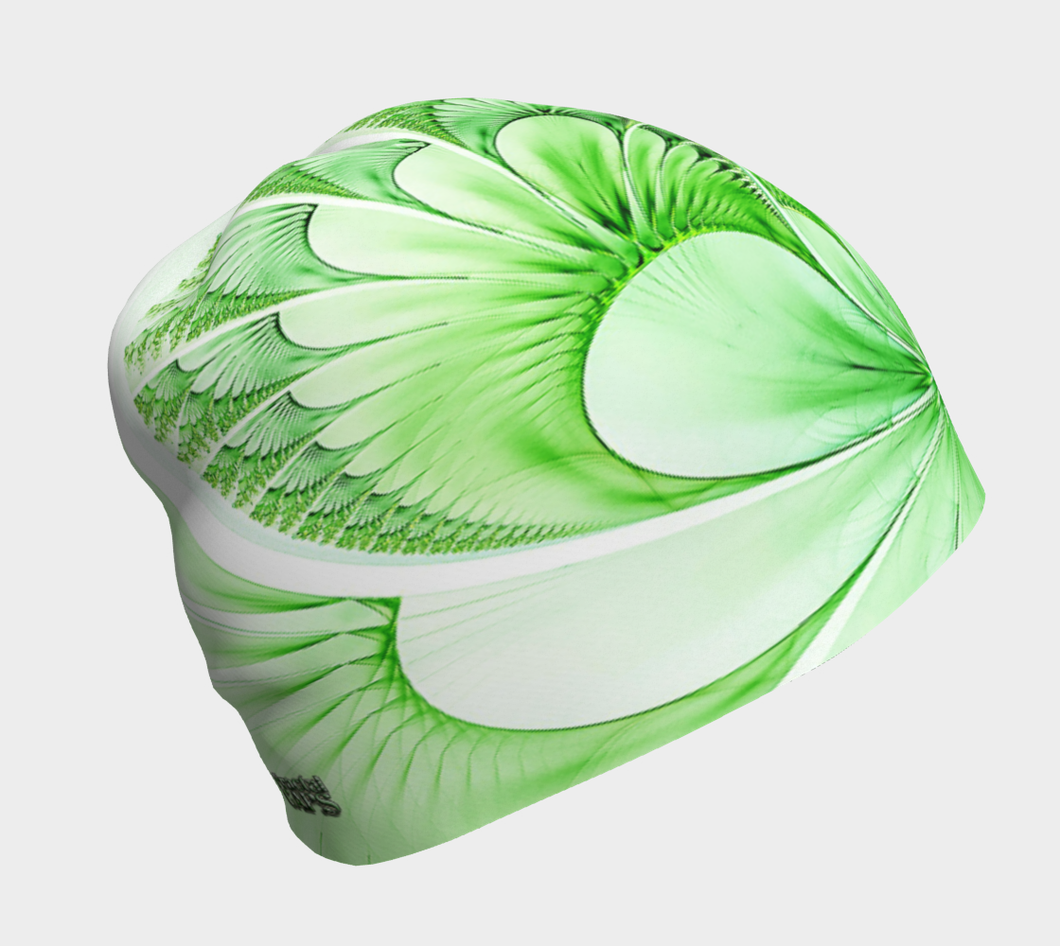 #fractalcaps Fluid Lime Green Beanie Eco-Poly/Spandex w/ Bamboo Rayon