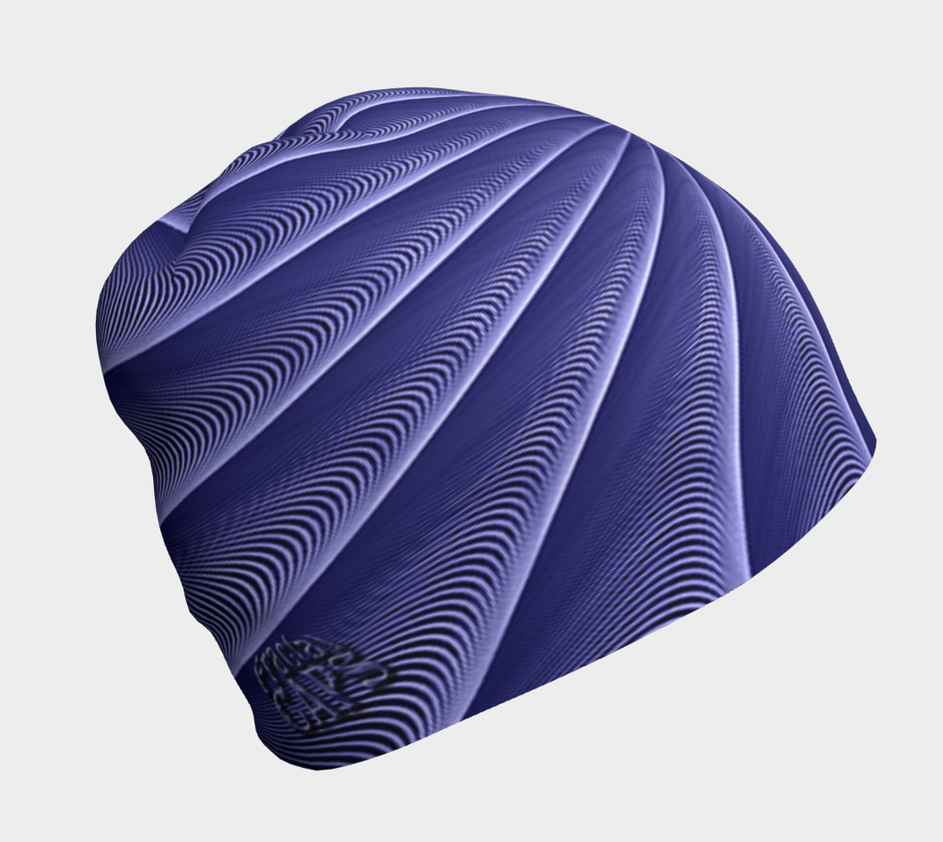 #fractalcaps Spiral Periwinkle Peace Beanie Eco-Poly/Spandex w/ Bamboo Rayon