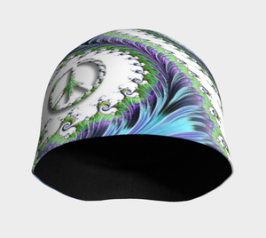 "FAB Aqua Groove Peace Sign, ""Fractal CAPS"" Beanie w/ Bamboo Rayon Liner"