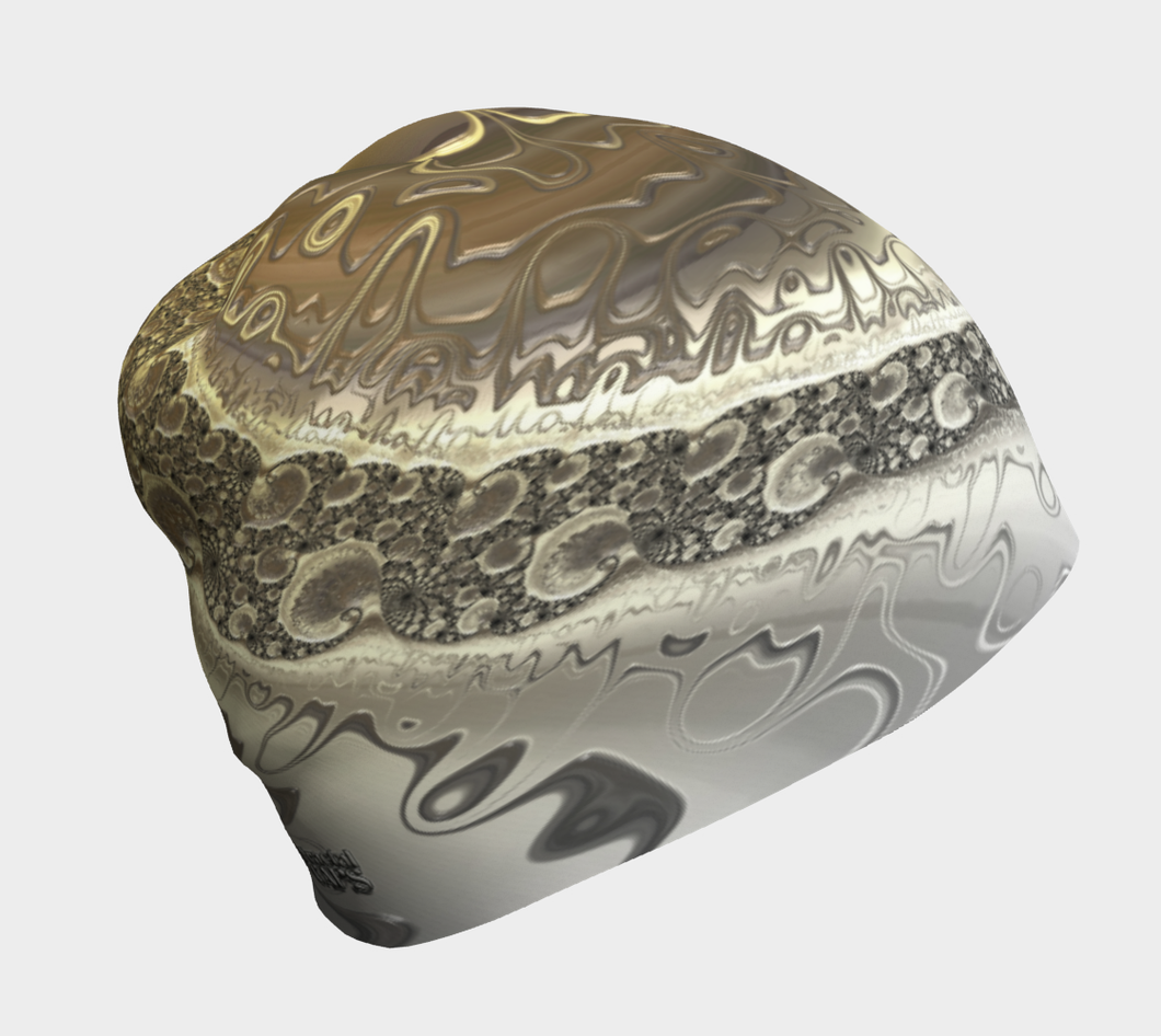 #fractalcaps Wave Silver Gold Beanie Eco-Poly/Spandex w/ Bamboo Rayon