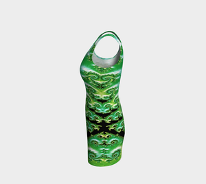 #fractalfads Lime Satin Hand Sewn EcoPoly Spandex Dress