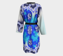 Load image into Gallery viewer, Fractal WRAPS Three Blues Peignoir Robe