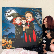 Load image into Gallery viewer, Custom Halloween Chibi Portrait