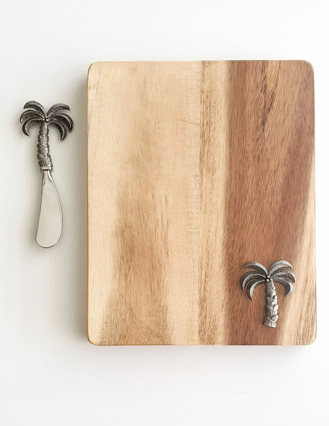 ACACIA CHEESEBOARD AND PALM TREE SPREADER