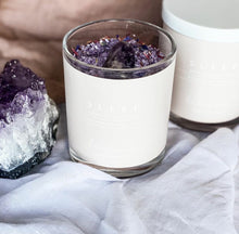 Load image into Gallery viewer, Made with Dead Sea salt, magnesium flakes, Epsom salt, lavender essential oil and organic dried botanicals.   Infused with a large amethyst palm stone to place in the bath while you soak. Amethyst is a great stone to relax the mind and body. Helping you drift off for a restful night sleep