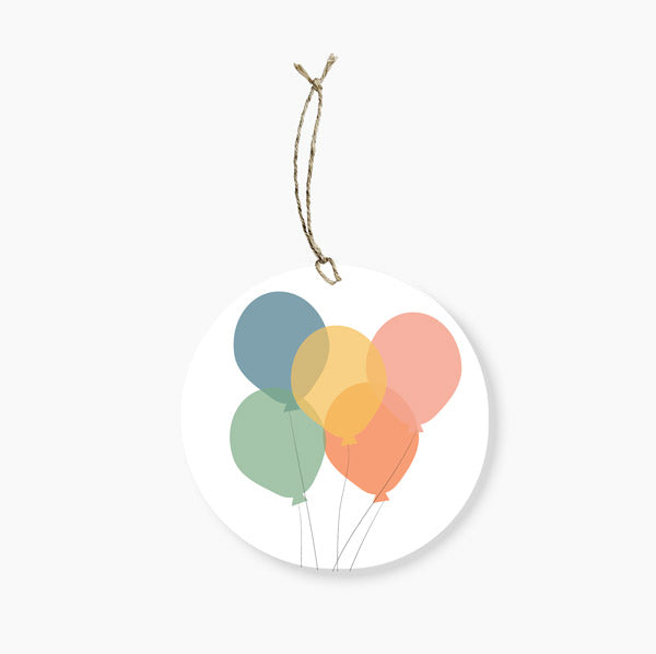 BALLONS ROUND GIFT TAG