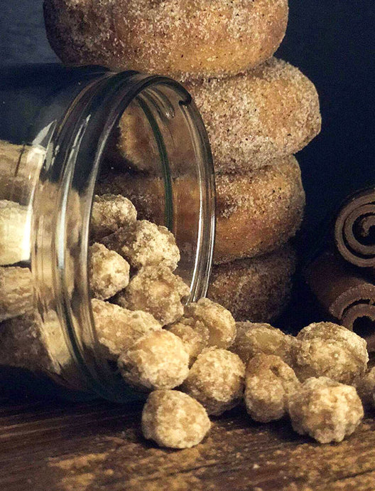 Australian flavoured Macadamias Just like a 'donut' but only crunchy!  A big hit of pure vanilla and aromatic cinnamon will transport you to your fondest memory of the most delicious donut ever eaten  Ingredients-White sugar, Macadamias, salt, Vanilla Essence, warer, Ground Cinnamon, Brown Sugar