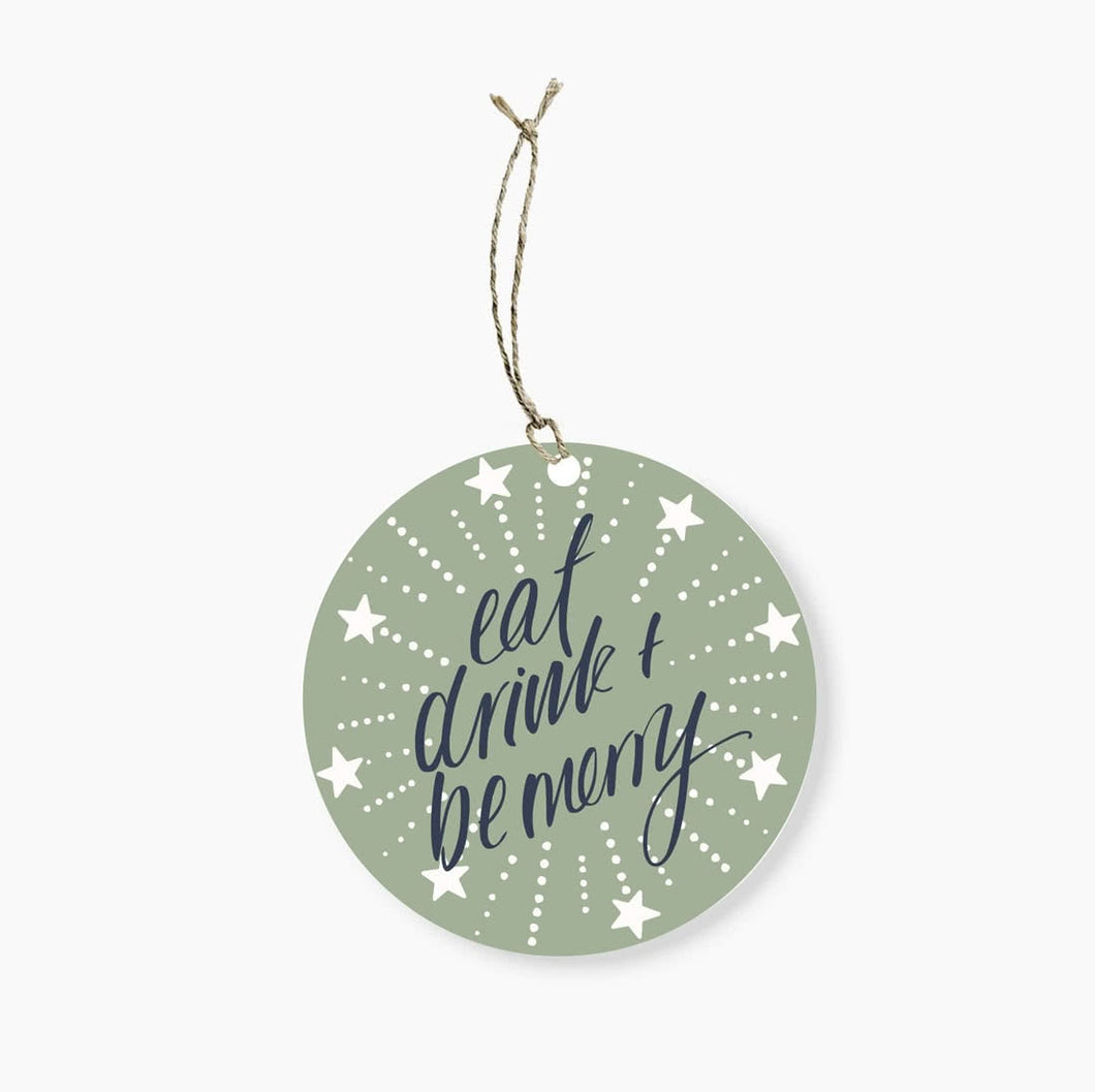 EAT DRINK & BE MERRY ROUND GIFT TAG