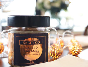 SALTY CO FLAVOURED MACADAMIAS - SALTED CARAMEL