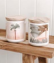 Load image into Gallery viewer, These Candles have 600g of creamy, pure and renewable soy + coconut wax, blended with our own Australian made fine fragrances oils and enriched with essentials oils.   Enjoy 80-100 hours of bliss. P A L M  D E S E R T - Bohemian Vibes of Sandalwood and Patchouli to fill you with peace, harmony and grow your spiritual awareness.
