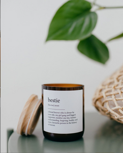 Australian Made + Hand Poured soy candles. Mid sized Amber Jar candles are made from recycled bottles to support sustainable living and matched with A signature custom raw wooden lid. S C E N T : M A L I - Blends coconut and lime sublime, take me for cocktails on the beach, with a summer breeze and palm trees.