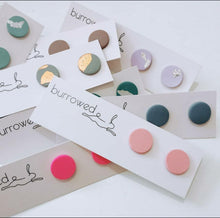 Load image into Gallery viewer, Each stud is hand-formed utilising on-trend, seasonal and sometimes unexpected colour combinations.  'Nova' collection - A range of bright colours accompanied by copper, gold and silver flakes  'Seed collection' - Cute and colourful seed-sized pops of ear candy! Secured to a plastic post (hypoallergenic and lightweight) with a silicon stopper.