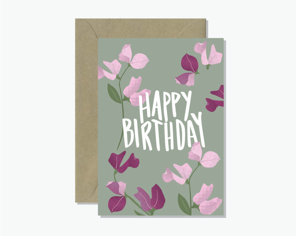 Happy Birthday with a beautiful Sweet Pea design.  All Rosie Lou cards are printed on 100% recycled card with vegetable based inks.  It is blank inside and paired with a 100% recycled brown envelope.